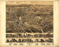 1880 Uxbridge, MA Birds Eye View Panoramic Map