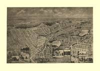 1898 Winchester, MA Birds Eye View Panoramic Map