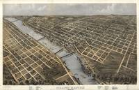 1868 Grand Rapids, MI Birds Eye View Panoramic Map