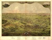 1866 Lansing, MI Birds Eye View Panoramic Map