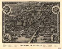 1907 Heart of St. Louis, MO Birds Eye View Map