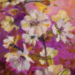 """White Blossoms and Bees Oil Painting by Ginette"" by GinetteCallaway"