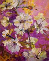 White Blossoms and Bees Oil Painting by Ginette