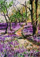 Bluebell Forest Original Painting by Ginette Calla