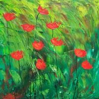 Red poppies on green landscape 2. 09547