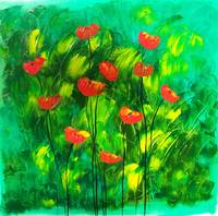 Red poppies on green landscape. 09504