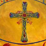 """Cross in Gold with Red, Green, Blue, Purple--Medie"" by Lenora"