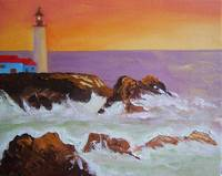 Lighthouse, sunset, rocks and surf. 105657