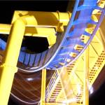 """roller coaster yellow and blue"" by Olejnik"