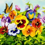 """Pansies with Butterfly"" by janlan44"