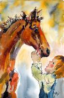 Buddies - Original Watercolor Painting by Ginette