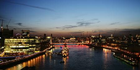 London by night view from Tower Bridge