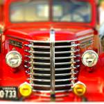 """Antique red pick up truck full frame chrome grill"" by Knocktwice10"