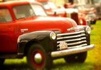 Classic antique red & black Chevy pickup