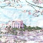 """Cherry Blossoms: Jefferson Memorial"" by KatieArt"