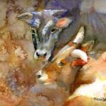 """Friends, Watercolor Painting of Cows and Bulls, Bo"" by schulmanart"