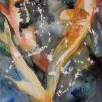 """Turbulent Waters, Watercolor Painting Koi Carp Fis"" by schulmanart"