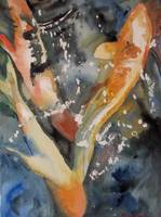 Turbulent Waters, Watercolor Painting Koi Carp Fis