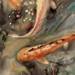 """Murky Waters, Koi Fish Carp Abstract Watercolor Ar"" by schulmanart"