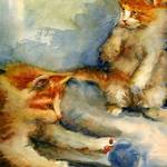 """Kittens Playing, Watercolor Painting of Orange Tab"" by schulmanart"