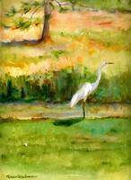 No Regret Egret, Watercolor Painting Art