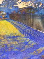 Blue Fence Shadows
