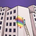 """There Goes the Gayborhood"" by mariozuccaillustration"