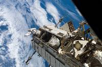 Astronaut participates in extravehicular activity.