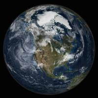 """Full Earth showing North America"" by StockTrek Images"