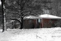 brick house in snow study