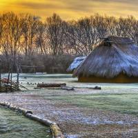 Winter Morning at Sunwatch Indian Village Dayton O by Jim Crotty