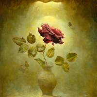 """Dark Bordeau red rose in by gold the light"" by Antonov"