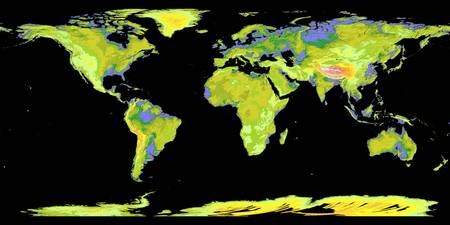 Digital elevation model of the continents on Earth