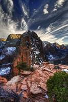 Winter Sky Over Angel's Landing in Zion National P