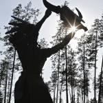 """Sun Worshipper Statue near Glacier National Park"" by jimcrotty"