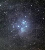 The Pleiades surrounded by dust and nebulosity.