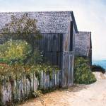 """WEATHERED BARN AND BEACH"" by AMFINEARTS"