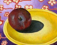 Plum on Yellow Plate