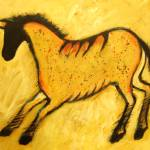 """Yellow Modern Horse Abstract Cave Painting"" by carolsuzanne"