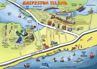 Galveston Island Cartoon Map
