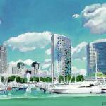 """Sun and Glass San Diego Marina"" by BeaconArtWorksCorporation"