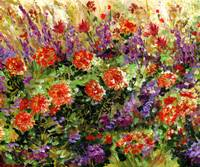 Bed of Flowers Impressionist painting by Ginette
