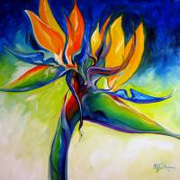 """BIRD OF PARADISE 24 by MARCIA BALDWIN"" by MBaldwinFineArt2006"