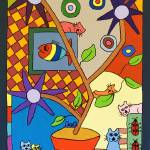 """Checkered Cat"" by careyscottart"