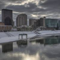 Dayton Ohio Skyline in Winter by Jim Crotty by Jim Crotty