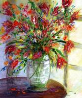Flowers by the Window Original Painting by Ginette