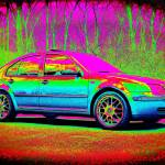 """Technicolor Volkswagen Jetta"" by RegDesigns"