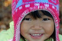 Asian girl in knitted winter hat