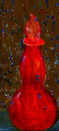 Red-Orange Bottle on Paper Sack