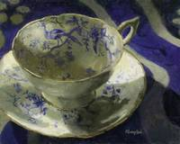 Teacup Colport Cairo With Blue Peacocks